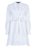 TIED AT FRONT COTTON SHIRT DRESS