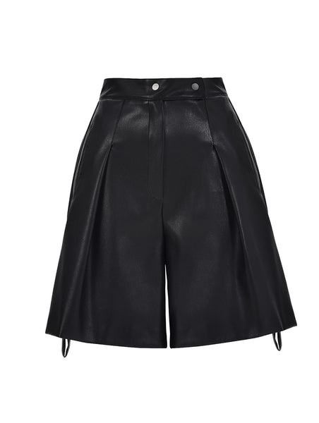 LEATHERETTE PLEATED SHORTS