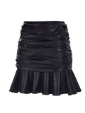 LEATHERETTE DRAPED SKIRT WITH FRILLED HEMLINE