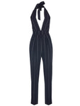 V NECK STRIPED JUMPSUIT
