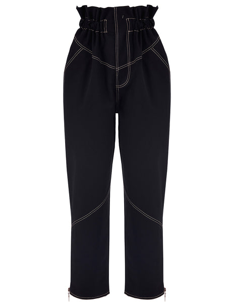 HIGH WAISTED CONTRAST STITCH PANTS