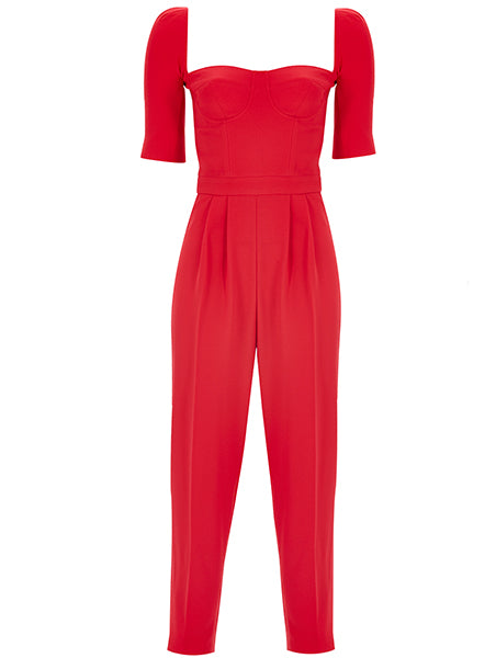 CUPPED COLLAR DETAIL JUMPSUIT