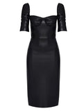 CUPPED LEATHERETTE PENCIL DRESS