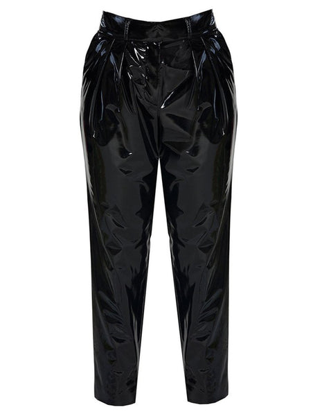 VINYL PLEATED PENCIL TROUSERS