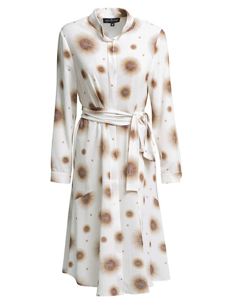 TURTLENECK WRAP OVER PRINTED SHIRTDRESS