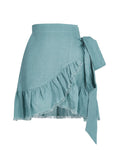 %100 LINEN FRILL AND TIE DETAILED SKIRT
