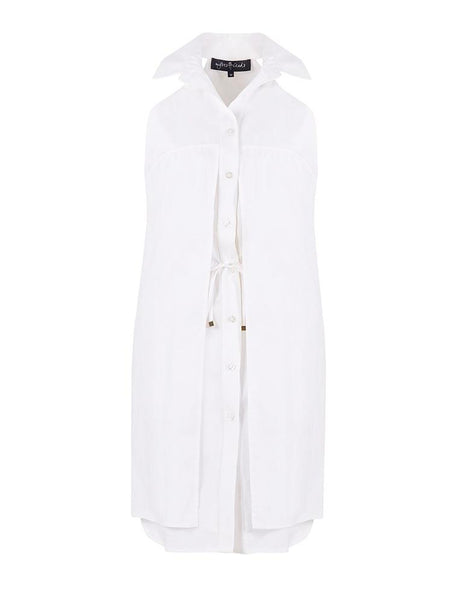 STRAPLESS TIE DETAIL COTTON SHIRTDRESS