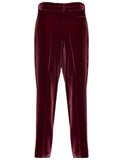 %100 SILK VELVET PLEATED PENCIL TROUSERS
