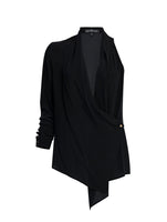 ONE SHOULDER WRAP OVER SILK SHIRT