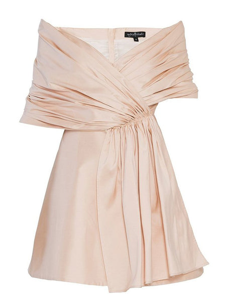 DRAPED OFF SHOULDER FLARED DRESS