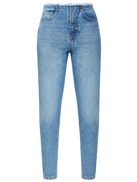 CUT WAISTED JEANS