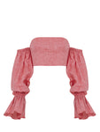 BALLOON ARM DETAILED STRAPLESS LINEN BLOUSE