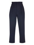 HIGH WAISTED BUTTON AND BELT DETAILED STRIPED TROUSERS
