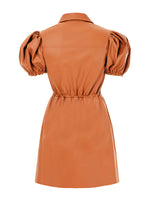 BALLOON ARM DETAILED LEATHERETTE DRESS