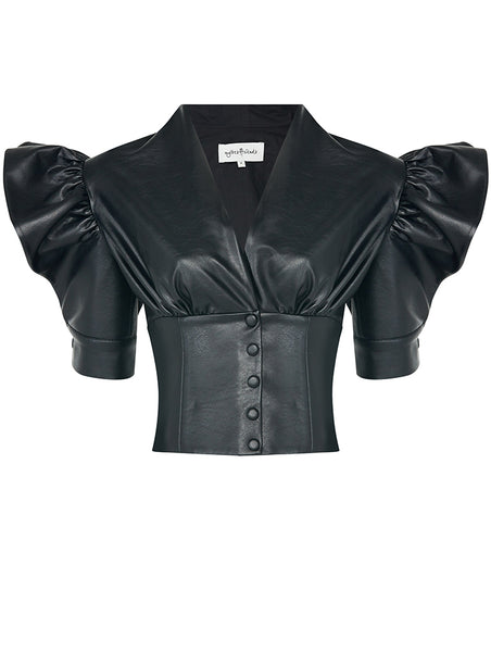 CORSAGE AND ARM DETAIL LEATHERETTE BLOUSE