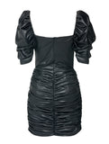 DRAPED MINI LEATHERETTE DRESS