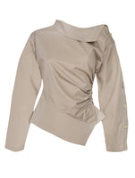 BUTTON DETAIL DRAPED BLOUSE