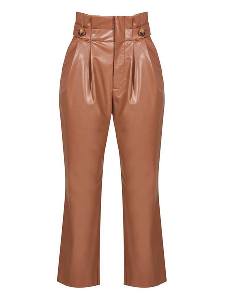 HIGH WAISTED BUTTON AND BELT DETAIL LEATHERETTE TROUSERS