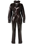 STANDUP COLLAR BUTTON DETAILED SHINEY JUMPSUIT