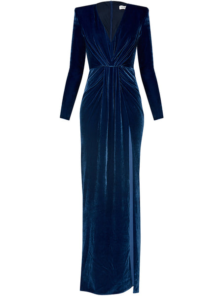 SILK VELVET DEEP V NECK GOWN WITH SLIT