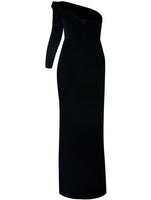ONE SHOULDER SLIT DETAIL VELVET GOWN