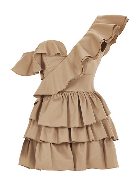 ONE SHOULDER MINI RUFFLE DRESS