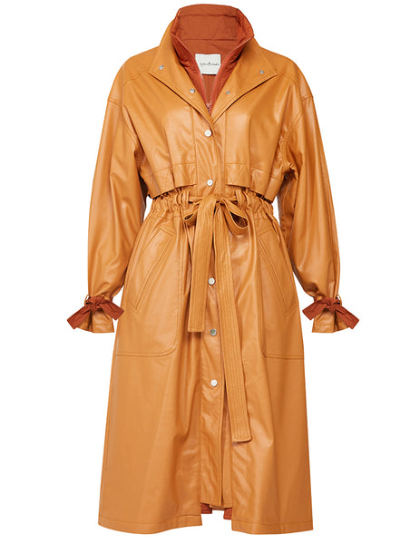 DOUBLE COLLAR DETAIL LEATHERETTE TRENCH COAT