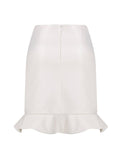 LEATHERETTE SKIRT WITH FRILLED HEMLINE