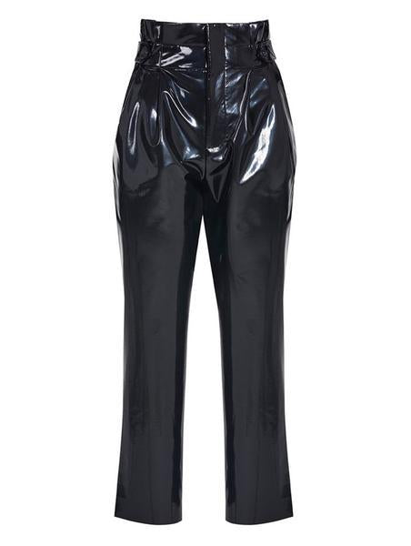 HIGH WAISTED BUTTON AND BELT DETAILED LEATHERETTE VINYL TROUSERS