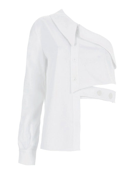ASYMMETRIC BUTTON DETAILED SHIRT