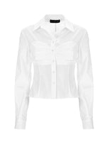 STRAPLESS DRAPE DETAILED POPLIN SHIRT
