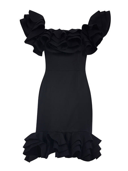 OFF SHOULDER WITH FRILLED DETAILED DRESS