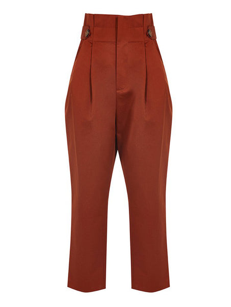 HIGH WAISTED BUTTON AND BELT DETAILED TROUSERS
