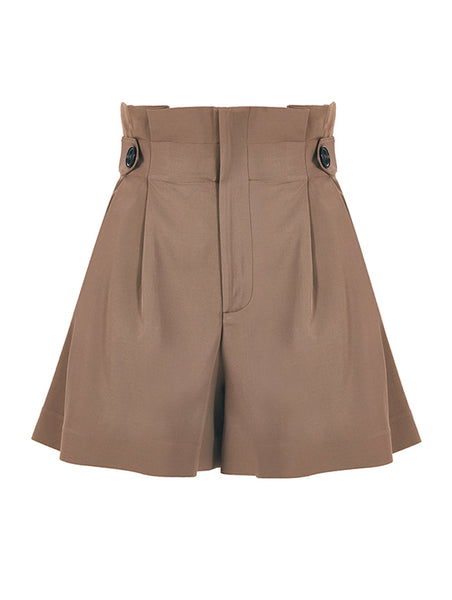 HIGH WAISTED BUTTON DETAIL POPLIN SHORTS