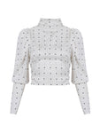 OPEN BACK POLKA DOT BLOUSE