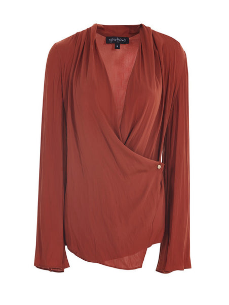 FLARED SLEEVE WRAP OVER SHIRT