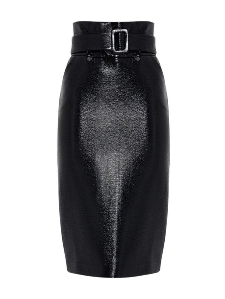 VINYL PENCIL SKIRT WITH BELT