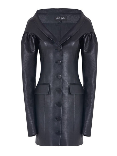 V COLLAR BALLOON ARM DETAIL JACKET DRESS