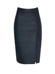 LEATHERETTE PENCIL SKIRT WITH SLIT