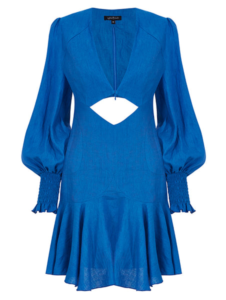 V COLLAR BELLY AND BACK CUT DETAIL MINI DRESS