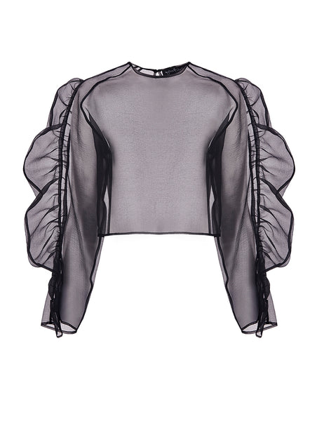 ORGANZA BLOUSE WITH FRILLED ARMS