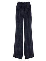TIED AT FRONT LOOSE CUT PANTS WITH SLIT