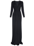 DEEP V NECK LONG SLEEVED GOWN WITH SLIT