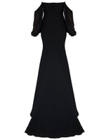 CHIFFON SLEEVED STRAPLES GOWN