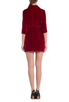 % 100 SILK VELVET ITALIAN COLLAR MINI DRESS