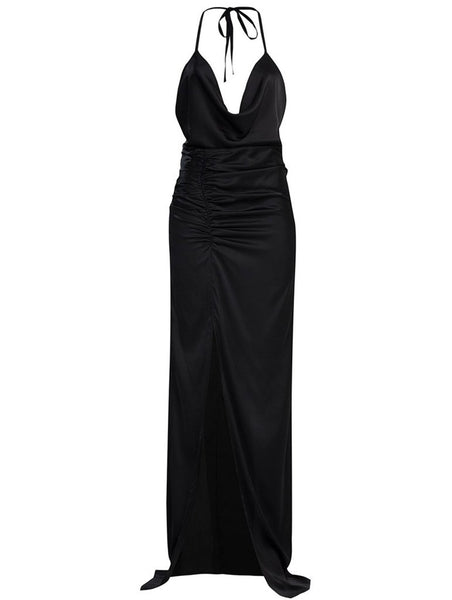 %100 SILK DRAPE DETAIL GOWN WITH SLIT