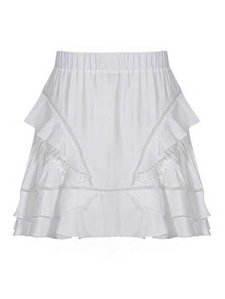 FRILL AND SIDE SWIG DETAILED SKIRT