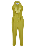 TUXEDO COLLAR AND BUTTON DETAILED JUMPSUIT