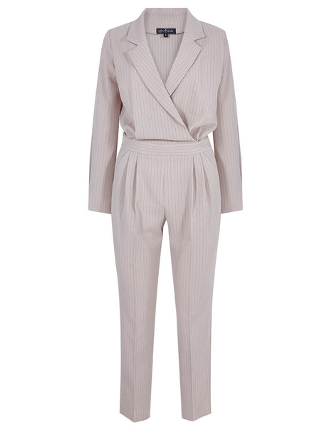 ITALIAN COLLAR JUMPSUIT WITH STRIPES