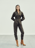 STANDUP COLLAR BUTTON DETAILED CANVAS JUMPSUIT